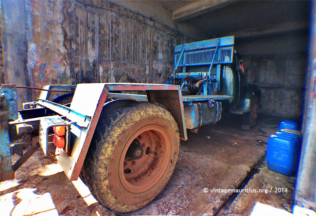 Green Bedford Lorry at Bois des Amourettes in a Garage
