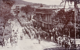 Port Louis - Guards of Honour Marching to the Government House on La Chaussée Street - 1920s