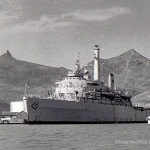 Port Louis – The HMS Intrepid Warship in the Harbour – 1970s