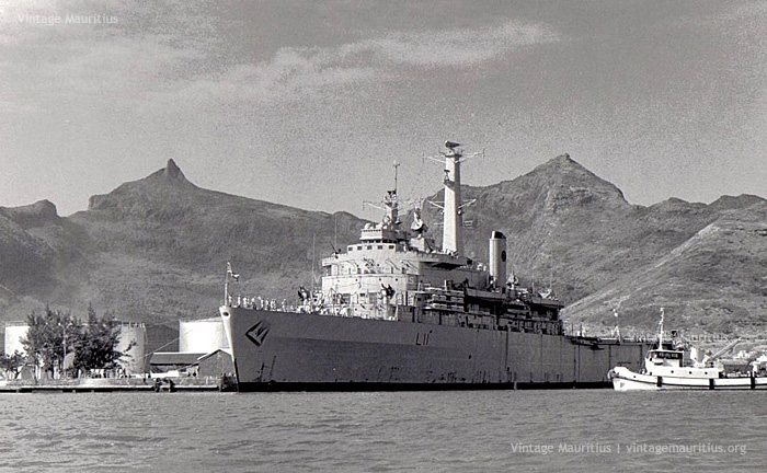 HMS Intrepid in Port Louis Harbour - 1970s