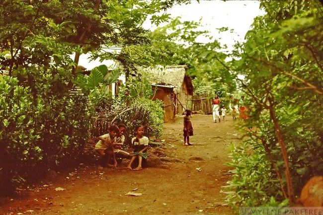 Kids Playing Barefoot in the Soil and Yard - 1980s - Mauritius - Courtesy: Mylene Pakeeree