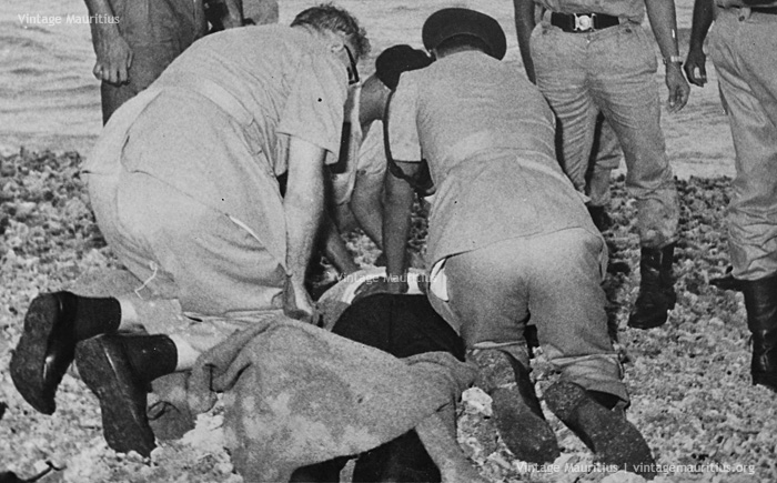 MPF Rescuing Sailors of SS Tayeb Wreckage - Port Louis - 1972