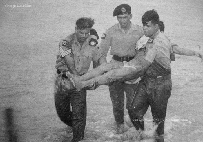 Mauritius Police Force Rescuing Sailors - SS Tayeb Wreckage - Port Louis - 1972