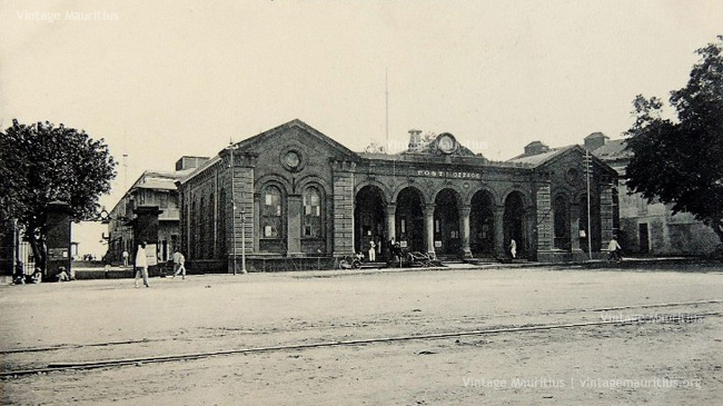 Port Louis - The Central Post Office - with Railway Tracks in front - 1930s