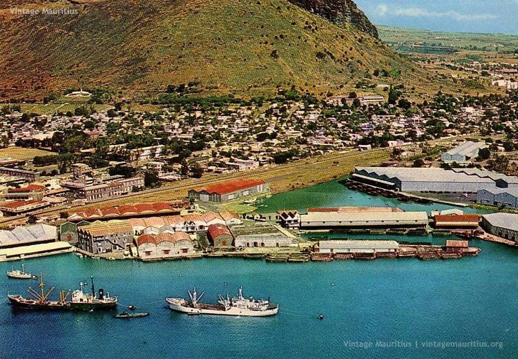 Port Louis - Harbour Aerial View - Caudan Basin - Caudan Waterfront - Railways - early 1970s