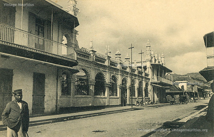 Port Louis - Jummah Mosque Street and the Mosque - 1890s