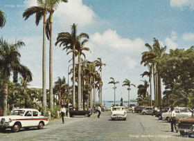 Port Louis - Place D'Armes - Taxi Stand and Old Cars - Mauritius - 1967