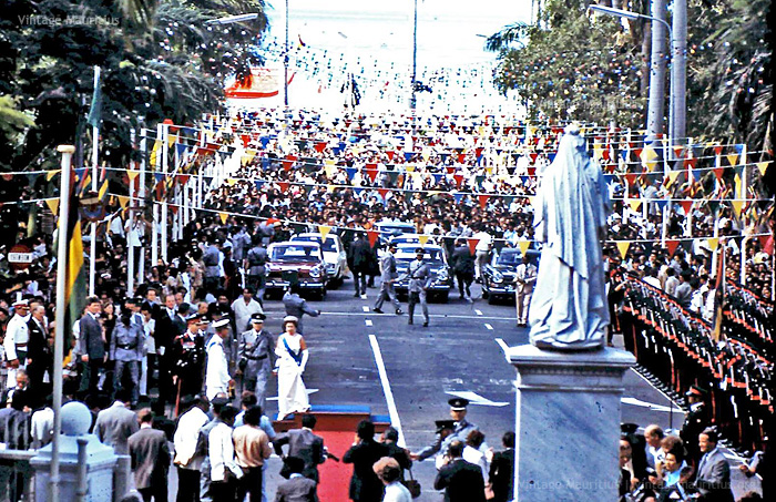 Port Louis - Place D'Armes - Her Majesty Queen Elizabeth II - Visits Mauritius - Mar 1972 (Courtesy: Alasdair Ward)