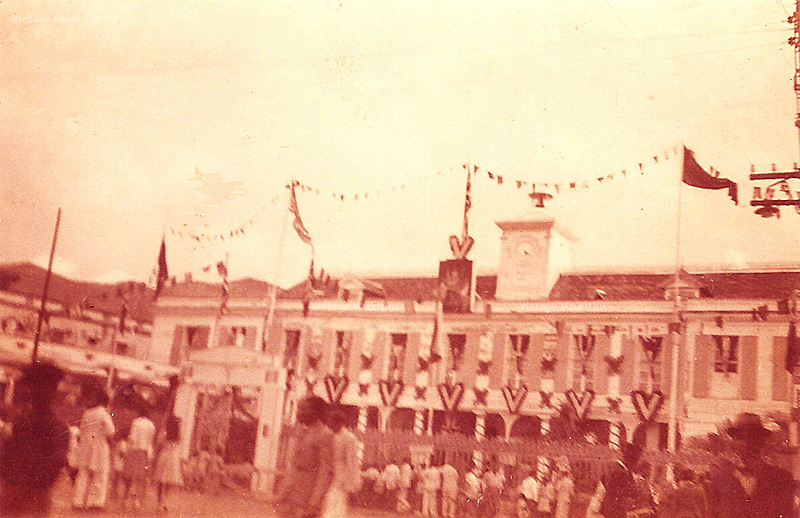 Port Louis Town Hall 1945 WW2 Victory