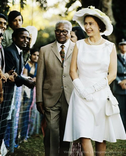Queen Elizabeth Visit Mauritius - and Sir Seewoosagur Ramgoolam - March 1972