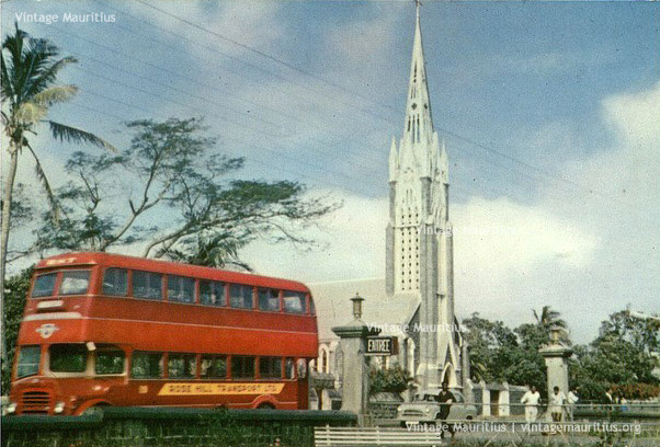 Rose Hill - Mont Martre Church from Plaza - And Rose Hill Transport Double Decker Bus - 1965