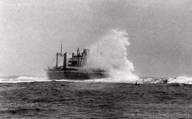 SS Tayeb Battling Against Strong Waves - 1972