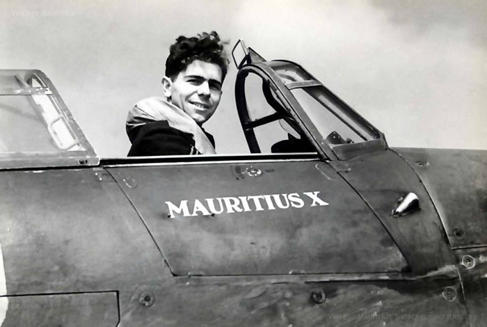 WWII Mauritius Squadron - Flight Sgt John William Brooks DFC DFM in his Hurricane Jet - 1942