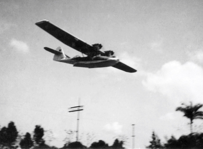 Catalina Hydroplane flying over Vacoas during WW2